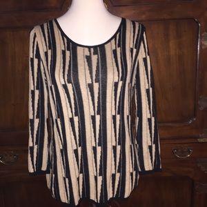 Joneswear Taupe/Black Geometric Sweater  SMALL